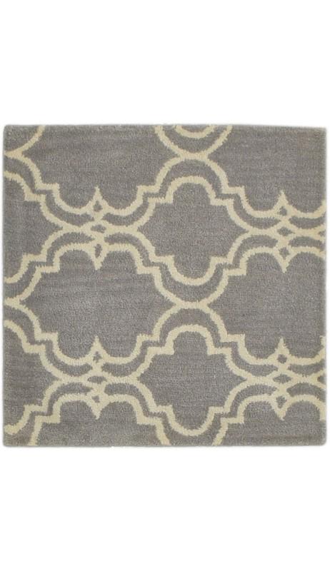 Modern Hand Tufted Wool Grey 2' x 2' Rug - pr000607