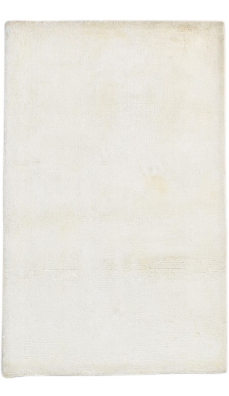 Modern Handloom Silk Ivory 2' x 3' Rug - pr000657
