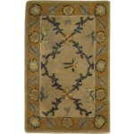Traditional Hand Tufted wool Beige 2' x 3' Rug - pr000863