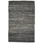 Modern Hand Woven Leather Cowhide Charcoal 2' x 3' Rug