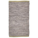 Modern Hand Woven Leather Cowhide Grey 2' x 3' Rug