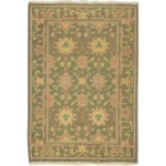 Traditional Hand Knotted Wool Green 2' x 3' Rug - rh000586