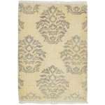 Damask Hand Knotted Wool Ivory 2' x 3' Rug - rh000593