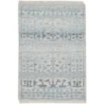 Modern Hand Knotted Wool Silk Blend Blue 2' x 3' Rug