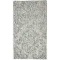 Modern Jacquard Loom Wool Silk Blend Grey 3' x 5' Rug