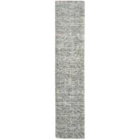 Modern Jacquard Loom Wool Silk Blend Grey 2' x 8' Rug