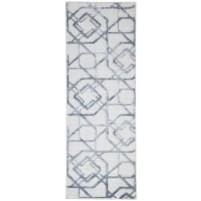 Modern Jacquard Loom Wool Silk Blend Grey 2' x 6' Rug