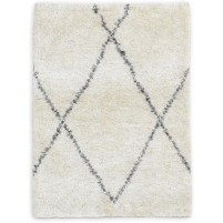 Modern Hand Knotted Wool / Silk Ivory 2' x 3' Rug - irfn000031