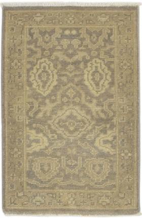 Traditional Hand Knotted Wool Brown 2' x 3' Rug - rh000577